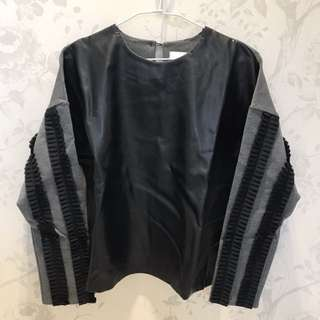 灰黑皮革拼接造型上衣🌚