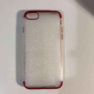 iPhone 7 & 8 clear silicon and metallic red