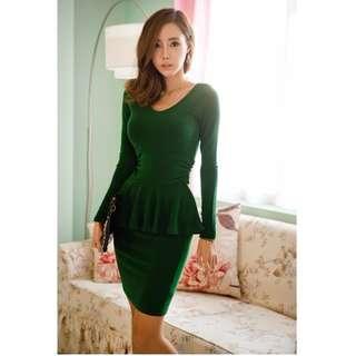 Long-sleeve Peplum Dress 12889 (Green)