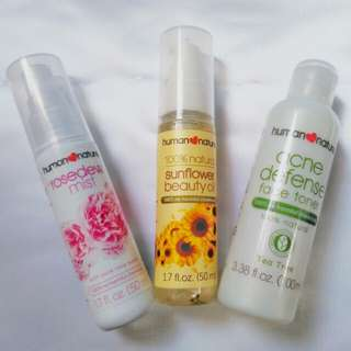 Human Nature Set of 3 (Sunflower Beauty Oil, Acne Defense Face Toner & Rose Dew Mist)