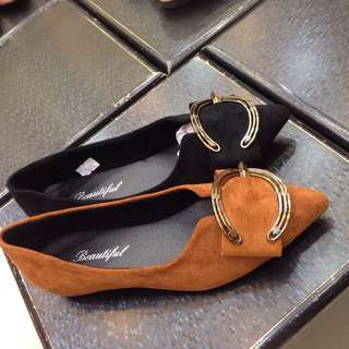 On trend Comfy and Stylish Dark Camel Suede or Black flat shoes