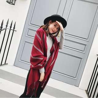 韓版簡約豎條紋仿羊絨針織流蘇披肩女士加厚保暖圍巾 男女用情侶款 紅色現貨