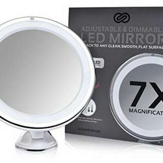 7X Magnifying Lighted Travel Makeup Mirror,Touch Activated, Locking Suction Mount, Battery Operated, Round