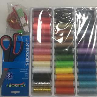 39 pcs sewing thread / needles / measurement tape / scissor