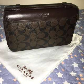 COACH Double Zip Organizer in Signature