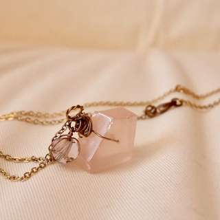 Vintage rose quartz with rose gold necklace