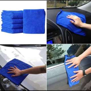 27.5 x 27.5(cm) Blue Absorbent Wash Cloth Car Auto Care Microfiber Cleaning Towels (3pcs)