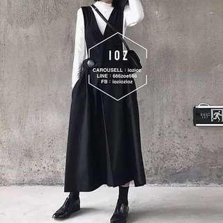 ioz 原創小眾 復古黑色高腰吊帶長裙