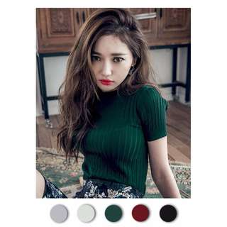 High Quality Show-slim Short Sleeve Knit Blouse (5 Colours)