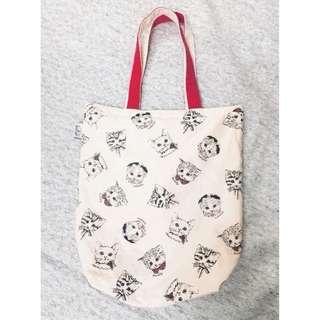 [二手]日本購入 貓咪圖案帆布袋