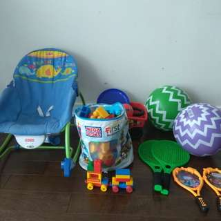 Toys in bulk with rocking chair