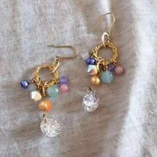 日本🇯🇵 彩色珠珠水鑽耳環