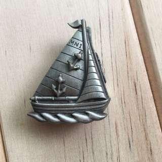 微型錫制「帆船」飾品盒套組 含飾品盒、耳環、項鍊