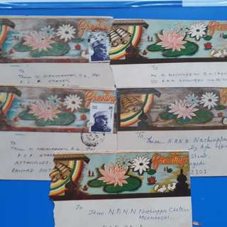 7 Piece LOT -  India GREETINGS Telegram Telegraph outer Cover with Stamp -  l7