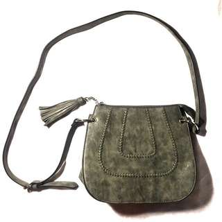 Gray Sling Bag with Tassles