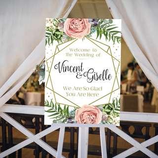 Wedding Signage Gold Modern Geometric Floral