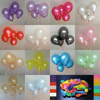 """12"""" metallic balloons for parties and occassions (10 pcs)"""