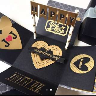 Happy valentine day black and gold Explosion Box Card