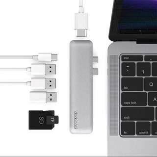 dodocool Hyperdrive 7 in 1 USB C hub adapter with HDMI & SD Card (space grey)