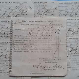 10 Piece LOT - 1876 vintage GREAT INDIAN PENINSULA RAILWAY Telegraph Receipt india - l7