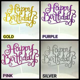 [FREE POSTAGE] Happy Birthday Cake Glitter Buntings / Toppers / Flags / Deco