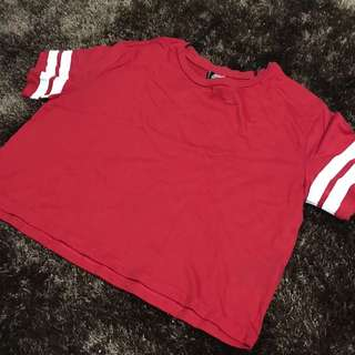 H&M RED CROP TOP SHIRT