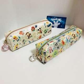 《日本直送》Disney 卡通人物 集會 筆袋 長形袋 雜物袋 可放文具或化妝工具 大大粒寶石拉鍊扣 case bag Mickey Aliens Alice Pooh Donald