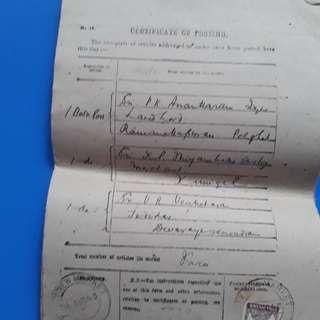 10 Piece LOT - 1943 BRITISH INDIA George VI  Certificate of Posting Receipt - l8