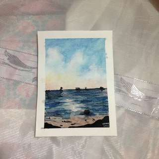 Seashore Painting Postcard