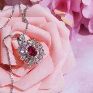 18k白金鑲紅寶石