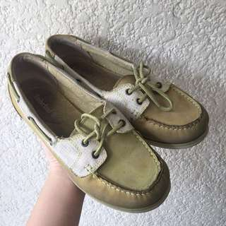 Timberland Boat Shoes Light Green Genuine Leather