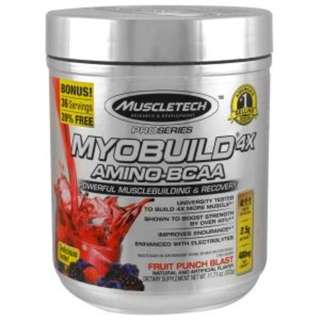 SALE Muscletech, MyoBuild 4X Amino-BCAA, Fruit Punch Blast, 11.71 oz (332 g)