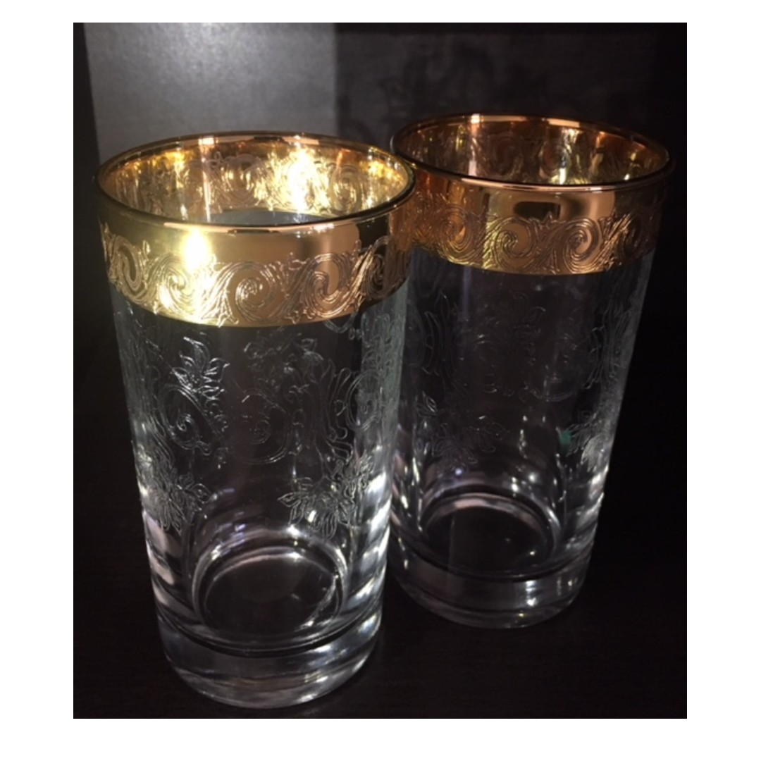 29 piece set 24k Gold Plated Crystal Glassware