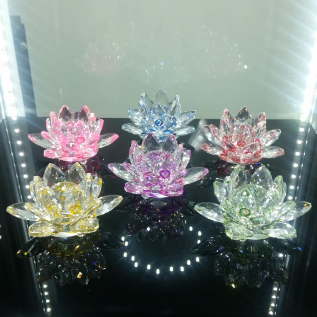 6 X Austria Crystal Lotus Flower Furniture
