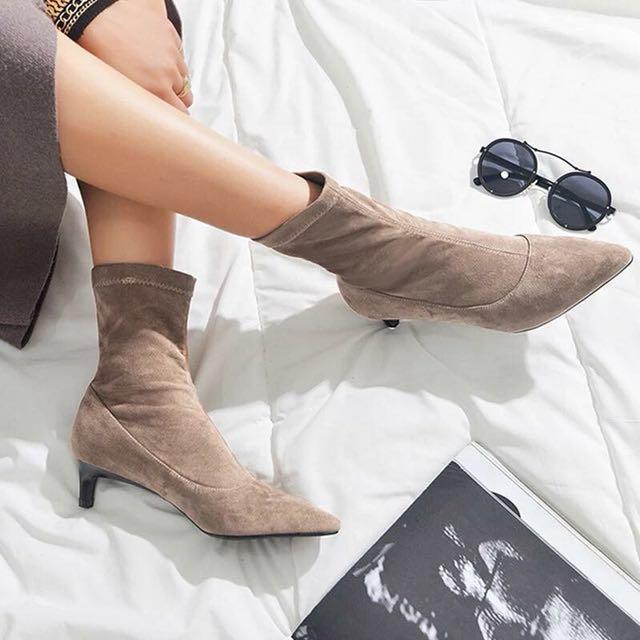 百搭素款真皮麂皮襪套靴襪子靴