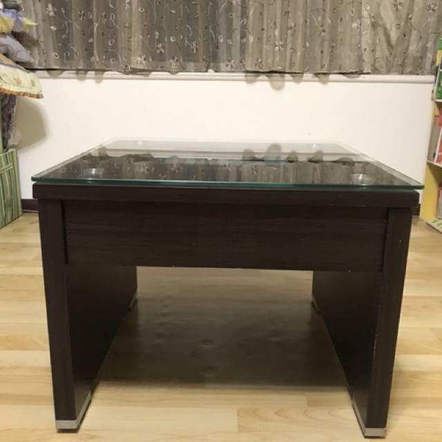 木質強化玻璃邊桌