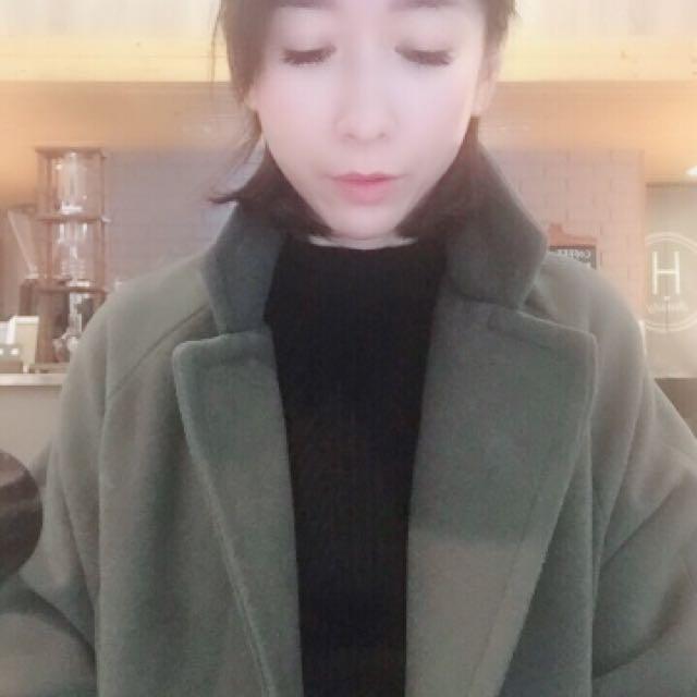 正韓軍綠色長版外套
