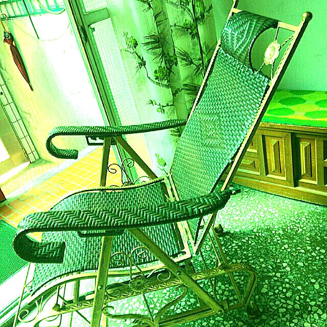 銅製籐編織兩用休閒搖搖椅