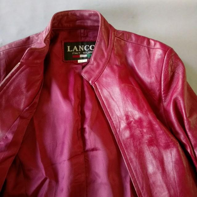 石榴紅柔軟真皮夾克皮衣外套
