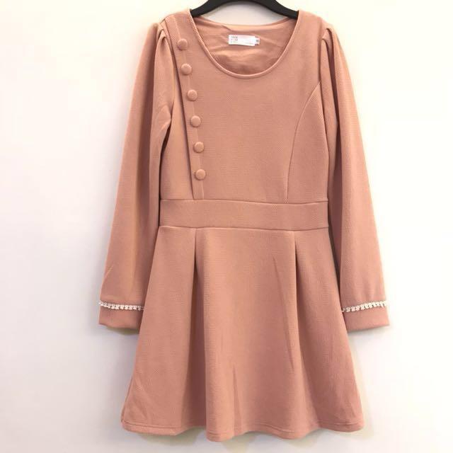 粉橘 長袖洋裝