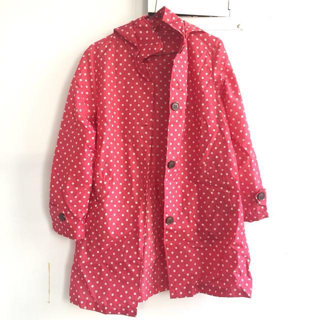 日本帶回 水玉點點梅紅色雨衣風衣