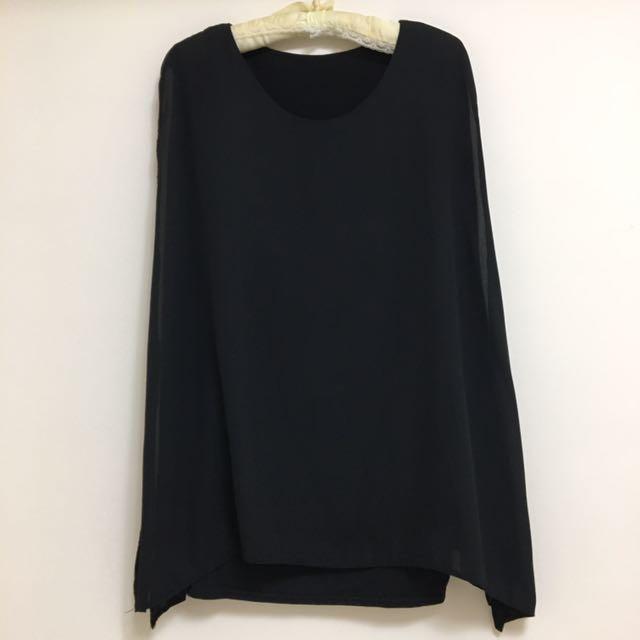 韓版 圓領黑雪紡長版上衣 顯瘦