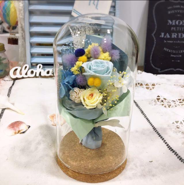 玻璃罩中花 不凋花 永生花 花藝品