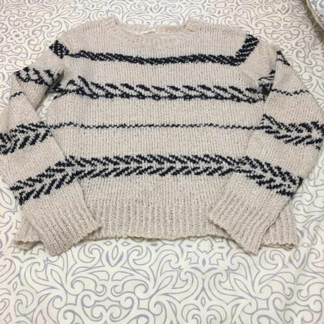 日本品牌 gu 米色條紋上衣毛衣