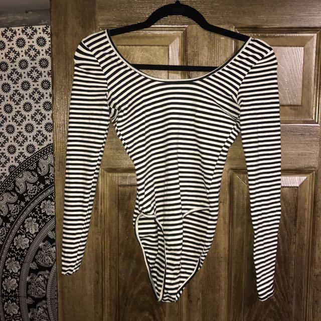 American Apparel Striped Longsleeve Low back Bodysuit