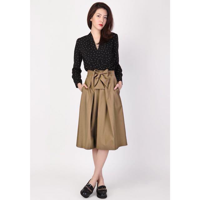 Arcade upfront tie midi skirt in khaki