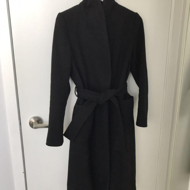 Aritzia x Wilfred Black Wool & Cashmere Coat