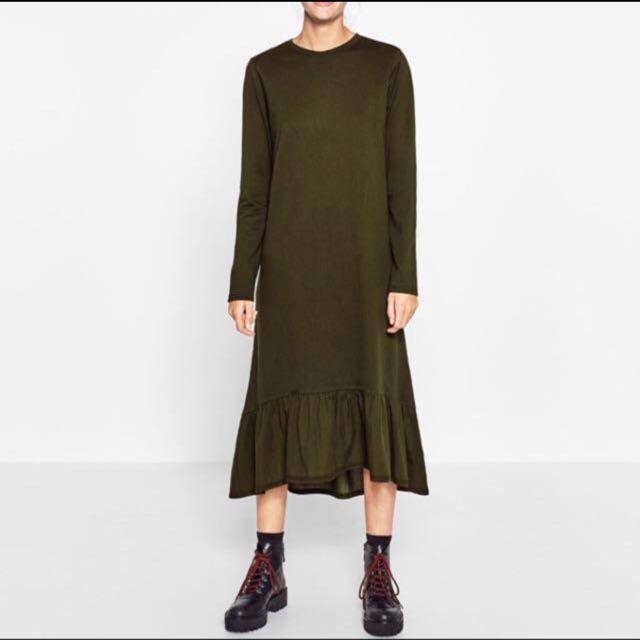 Authentic Zara frill hem dress in olive green