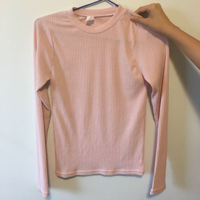 Baby pink mock neck long sleeve