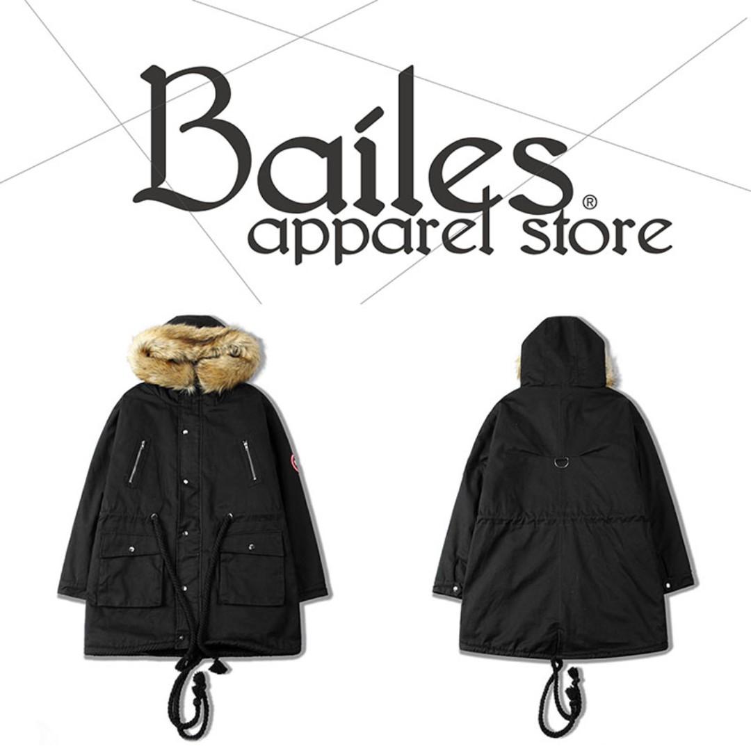 貝里斯Bailes【AO054】日韓版 / 男女款 日韓款冬季內裏加厚刷毛連帽保暖抽繩多口袋工裝風格大衣